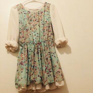 Mint white floral flower dress flowy ruffle mini